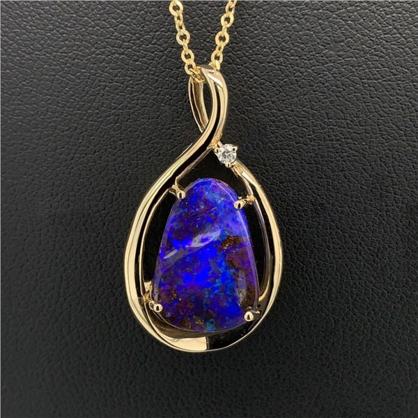 Australian Boulder Opal and Diamond Pendant Gerald's Jewelry Oak Harbor, WA