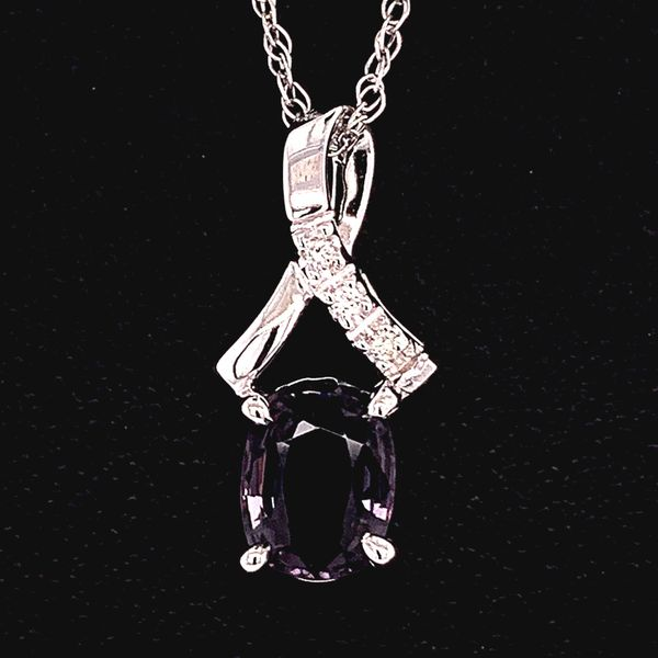 14K White Gold Spinel and Diamond Pendant Gerald's Jewelry Oak Harbor, WA