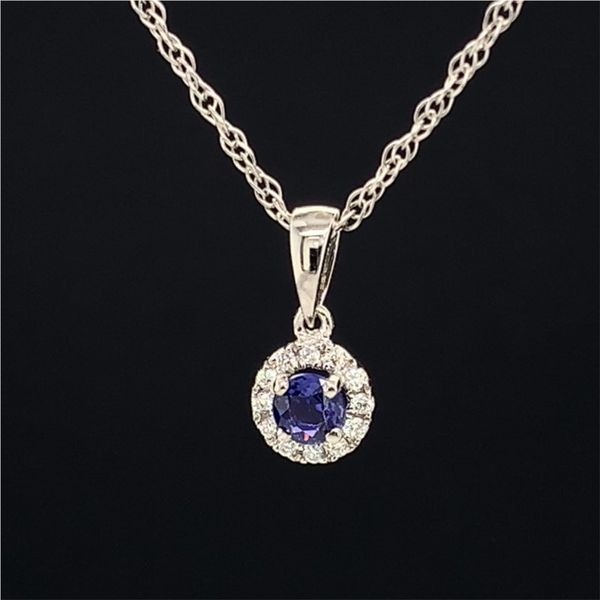 18K White Gold And Diamond And Purple Sapphire Halo Pendant Image 2 Gerald's Jewelry Oak Harbor, WA