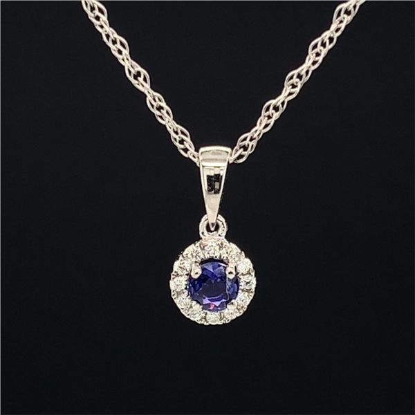 18K White Gold And Diamond And Purple Sapphire Halo Pendant Gerald's Jewelry Oak Harbor, WA