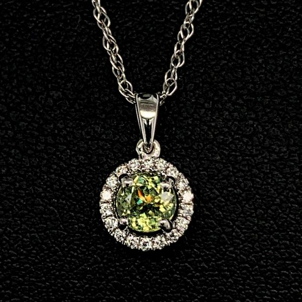 18K White Gold Diamond and Demantoid Garnet Halo Pendant Gerald's Jewelry Oak Harbor, WA