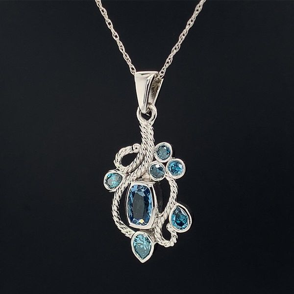 Custom Made 14K White Gold Aquamarine and Blue Diamond Pendant Image 2 Geralds Jewelry Oak Harbor, WA