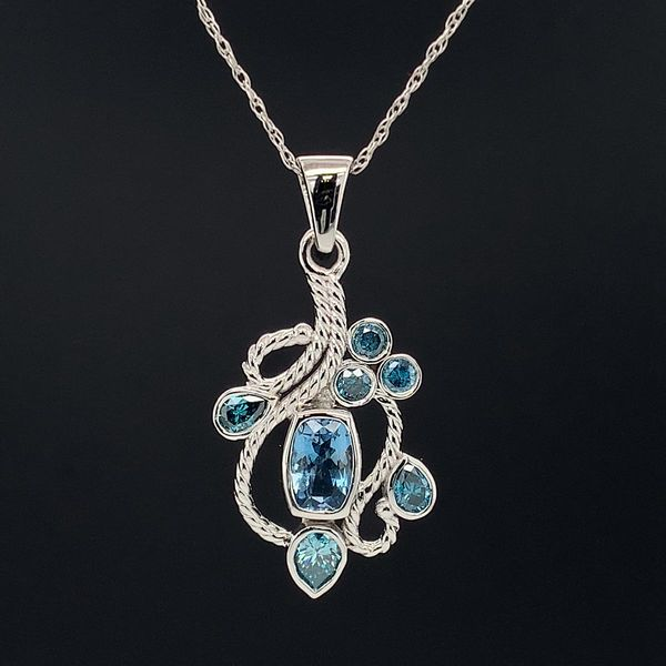 Custom Made 14K White Gold Aquamarine and Blue Diamond Pendant Geralds Jewelry Oak Harbor, WA