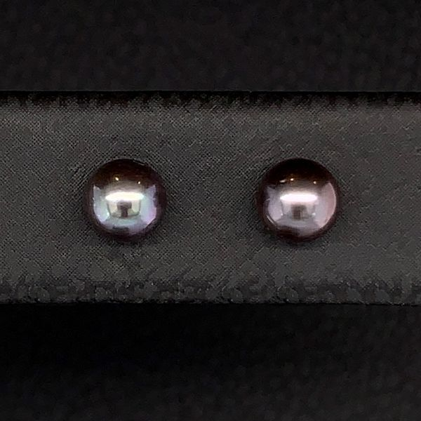 4Mm Black Cultured Pearl Stud Earrings Image 2 Gerald's Jewelry Oak Harbor, WA