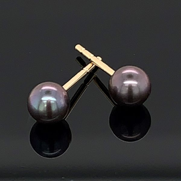 4Mm Black Cultured Pearl Stud Earrings Gerald's Jewelry Oak Harbor, WA