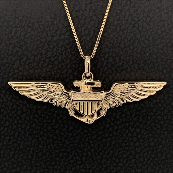 14K Yellow Gold Custom Pilots Wings, Sweetheart Size Gerald's Jewelry Oak Harbor, WA