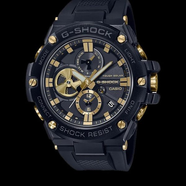 Casio G-Shock G-Steel Watch, Black with Golden Tone Accents Geralds Jewelry Oak Harbor, WA