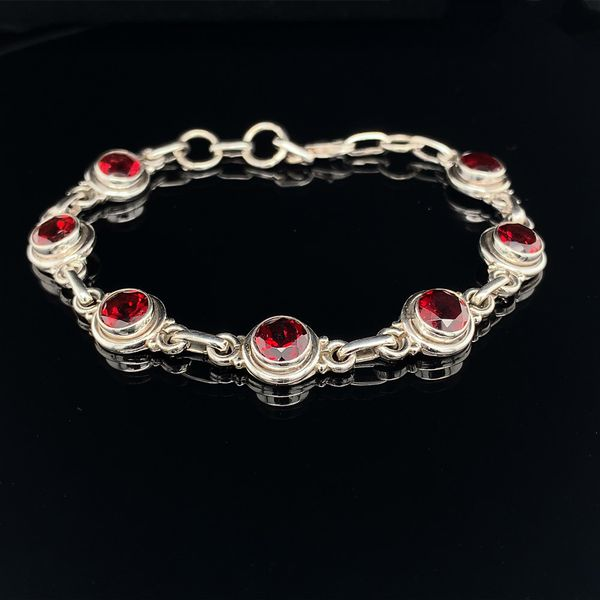 Sterling Silver And Garnet Bezel Set Bracelet Geralds Jewelry Oak Harbor, WA