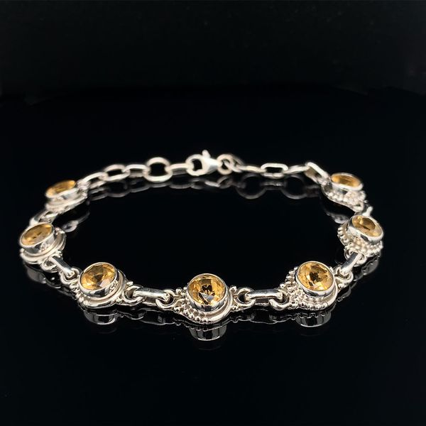 Sterling Silver And Citrine Bezel Set Bracelet With Beading Accents Geralds Jewelry Oak Harbor, WA