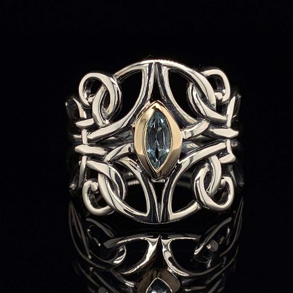 Keith Jack Celtic Sterling Silver & 10K Angel Ring With Blue Topaz Gerald's Jewelry Oak Harbor, WA
