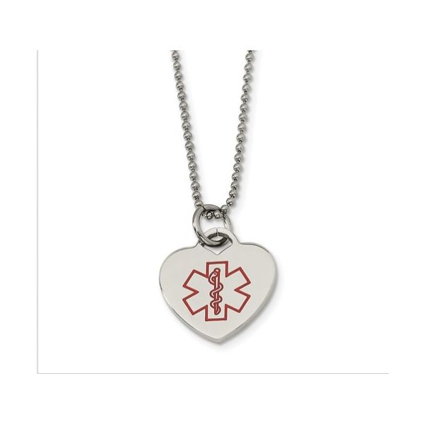 Heart Shaped Stainless Steel Medical Alert Necklace Gerald's Jewelry Oak Harbor, WA