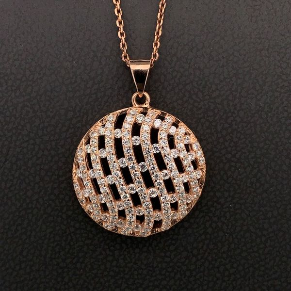 Rose Sterling Round Pendant with Cubic Zirconias Gerald's Jewelry Oak Harbor, WA