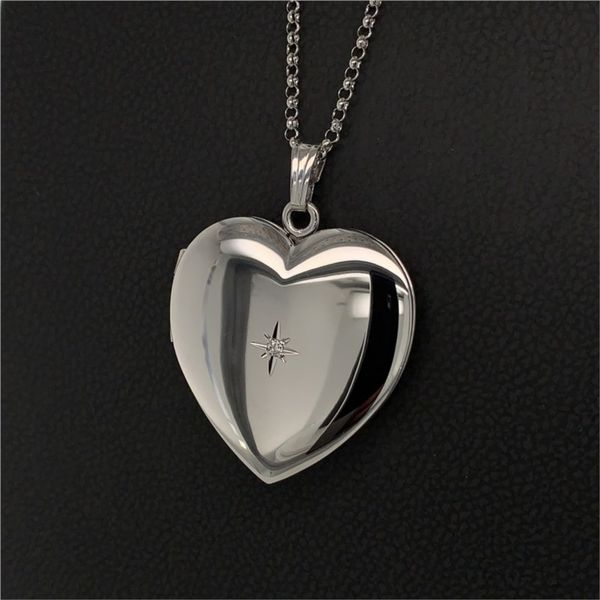 Sterling Silver Heart Locket with Diamond Image 2 Gerald's Jewelry Oak Harbor, WA