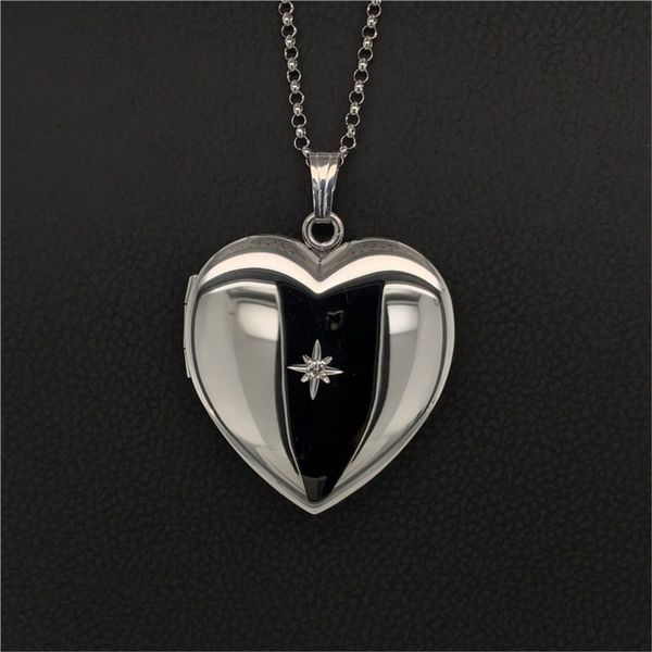 Sterling Silver Heart Locket with Diamond Gerald's Jewelry Oak Harbor, WA