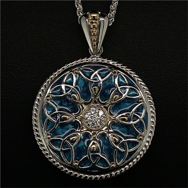 Keith Jack Celtic Trinity Pendant with Sky Blue Enamel Gerald's Jewelry Oak Harbor, WA