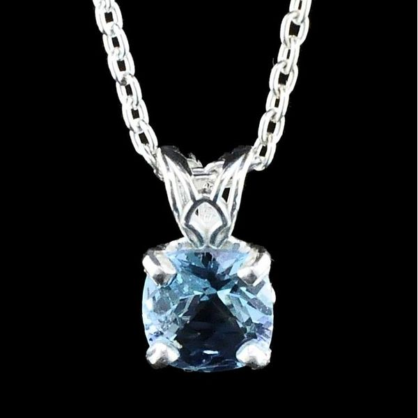 Silver Cushion Cut London Blue Topaz Pendant Gerald's Jewelry Oak Harbor, WA