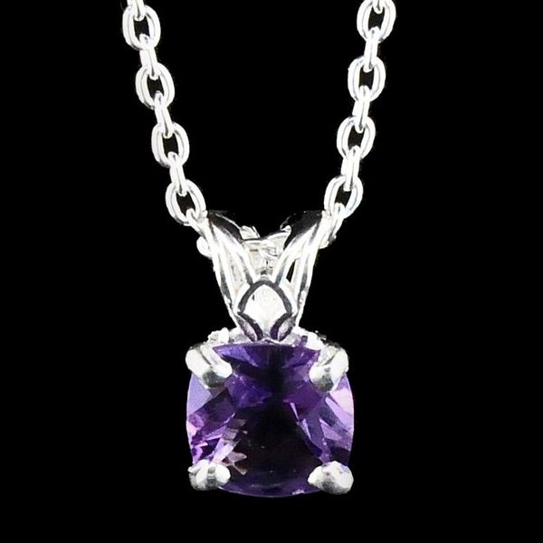 Silver Cushion Cut Amethyst Pendant Gerald's Jewelry Oak Harbor, WA