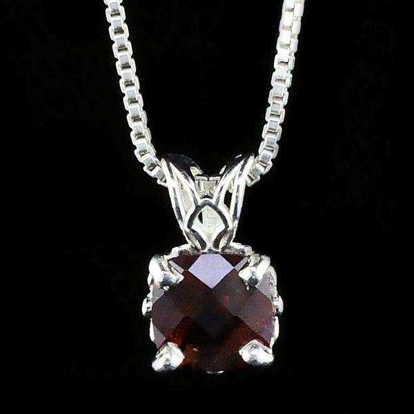 Silver Cushion Cut Garnet Pendant Gerald's Jewelry Oak Harbor, WA