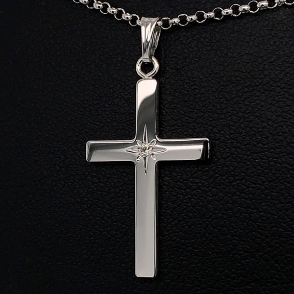 Sterling Silver Cross Pendant with Diamond Gerald's Jewelry Oak Harbor, WA