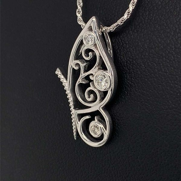 Custom Sterling Silver and Diamond Butterfly Pendant Image 2 Geralds Jewelry Oak Harbor, WA