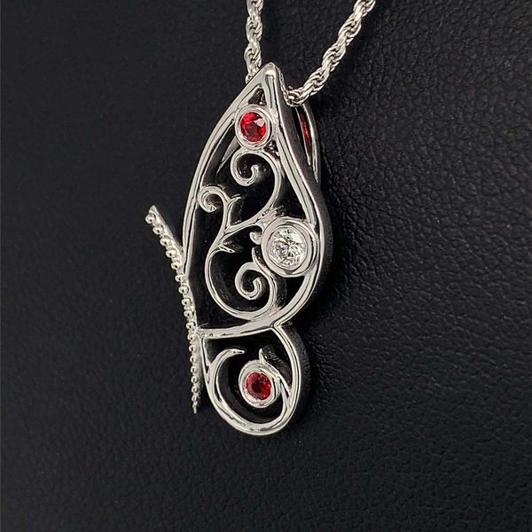 Custom Sterling Silver, Ruby and Diamond Butterfly Pendant Image 2 Gerald's Jewelry Oak Harbor, WA