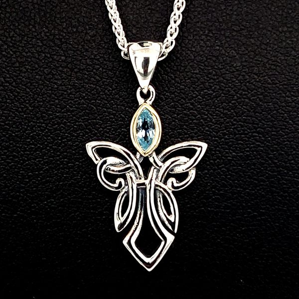 Keith Jack Celtic Guardian Angel Pendant, Blue Topaz Geralds Jewelry Oak Harbor, WA
