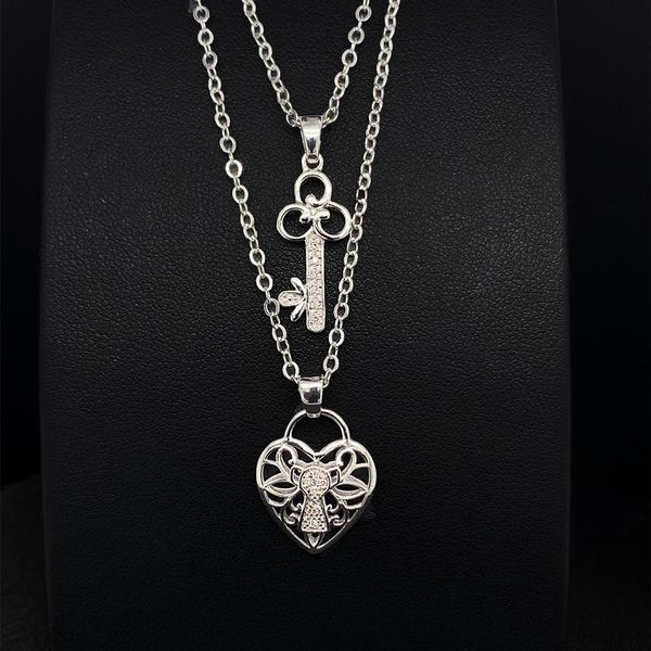 Key And Heart Double Necklace Strand Geralds Jewelry Oak Harbor, WA