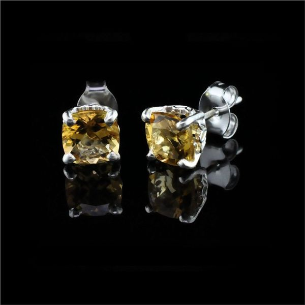 Silver and Cushion Cut Citrine Earrings Gerald's Jewelry Oak Harbor, WA