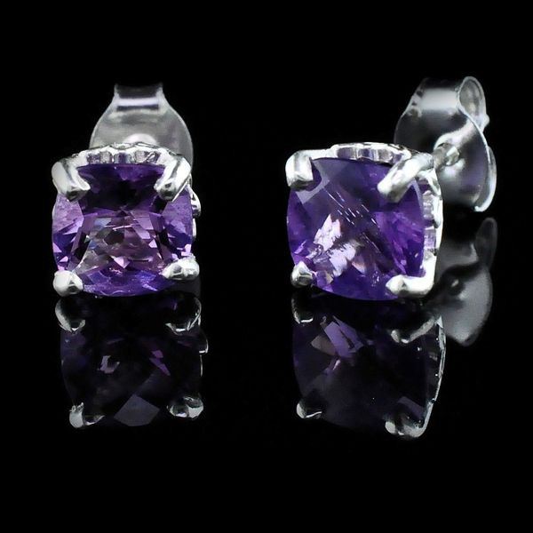 Silver and Cushion Cut Amethyst Earrings Gerald's Jewelry Oak Harbor, WA