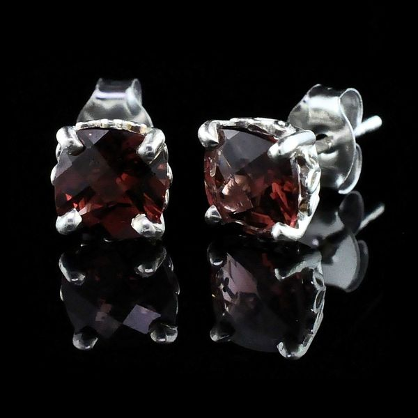 Silver and Cushion Cut Garnet Earrings Gerald's Jewelry Oak Harbor, WA