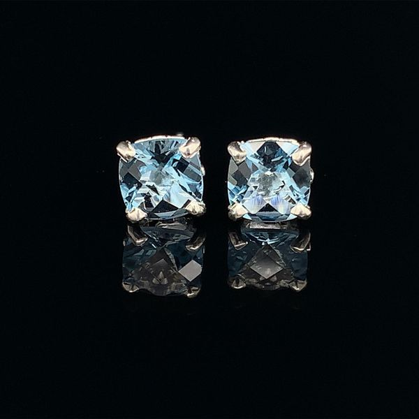 Silver and Cushion Cut Sky Blue Topaz Earrings Geralds Jewelry Oak Harbor, WA