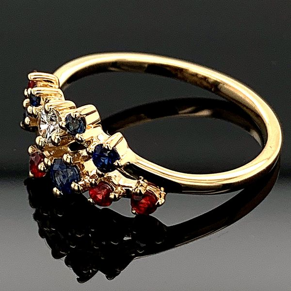 Diamond, Blue Sapphire, and Fire Ruby Fashion Ring Image 2 Gerald's Jewelry Oak Harbor, WA
