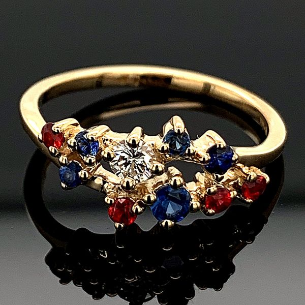 Diamond, Blue Sapphire, and Fire Ruby Fashion Ring Gerald's Jewelry Oak Harbor, WA