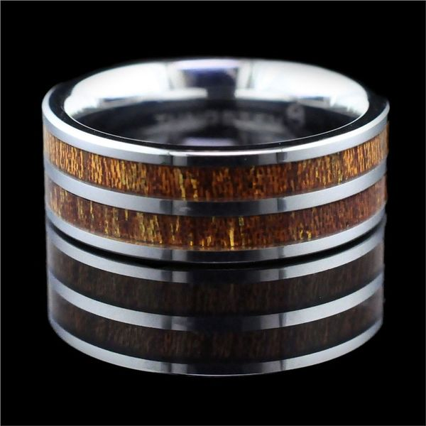 Tungsten Band With Double Kona Wood Inlay Geralds Jewelry Oak Harbor, WA