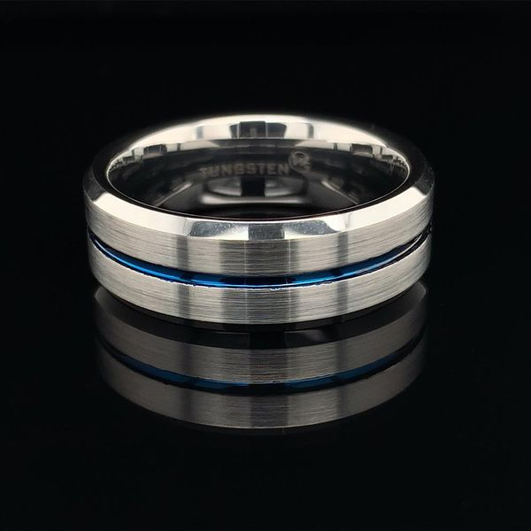 Tungsten Band With Beveled Edged and Thin Blue Line Geralds Jewelry Oak Harbor, WA