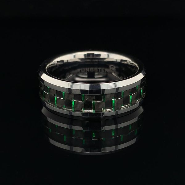 Tungsten Band With Green Carbon Fiber Inlay Geralds Jewelry Oak Harbor, WA