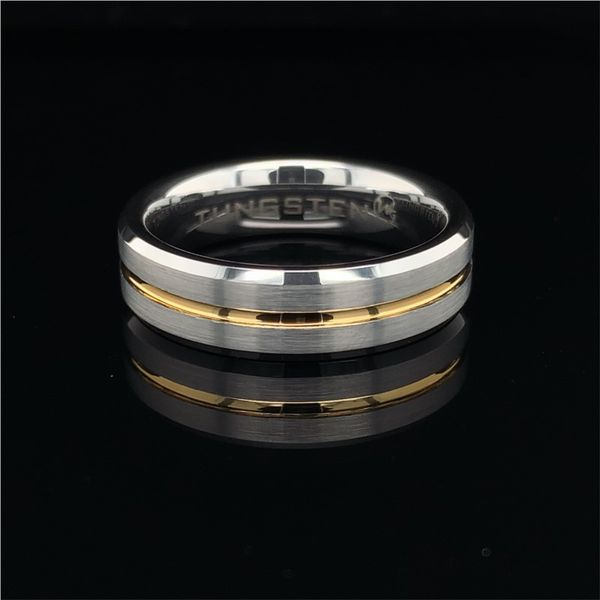 Tungsten Band With Beveled Edges And Thin Yellow Line Geralds Jewelry Oak Harbor, WA