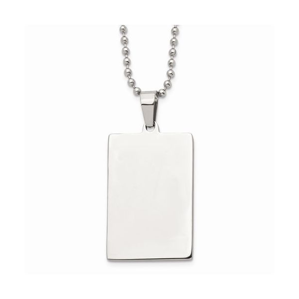 Stainless Steel Brushed and Polished Squared Dog Tag Gerald's Jewelry Oak Harbor, WA
