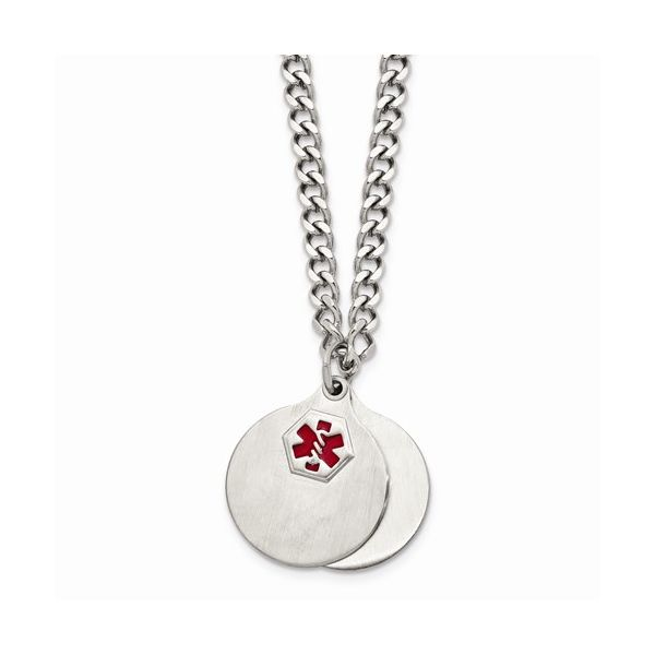 Stainless Steel Brushed 2 Piece Medical Pendant Necklace Gerald's Jewelry Oak Harbor, WA