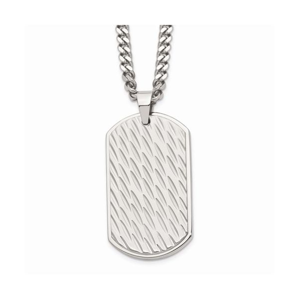 Stainless Steel Brushed and Polished Textured Dog tag Gerald's Jewelry Oak Harbor, WA