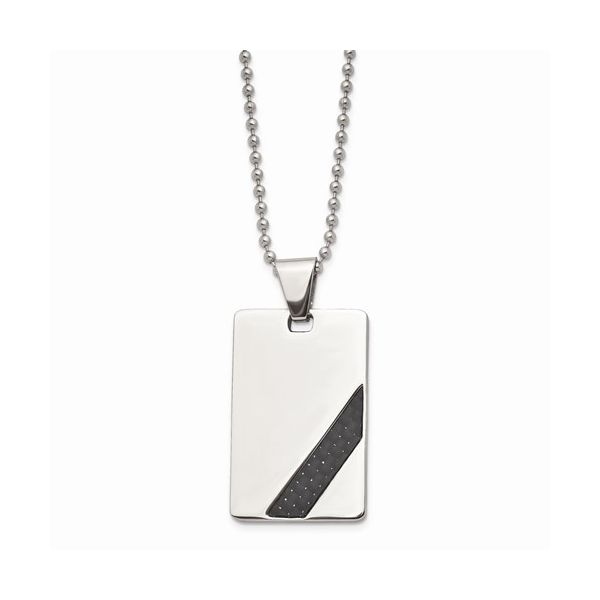 Stainless Steel Polished Dog Tag With  Black Carbon Fiber Inlay Gerald's Jewelry Oak Harbor, WA