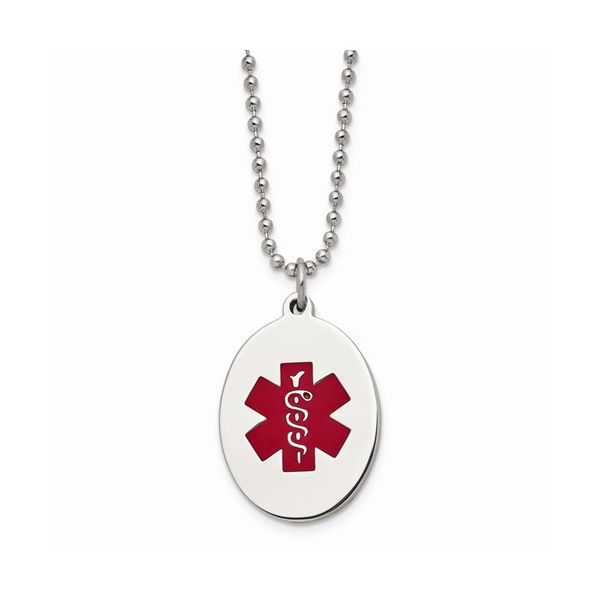 Stainless Steel Red Enamel Oval Medical Pendant with chain Gerald's Jewelry Oak Harbor, WA