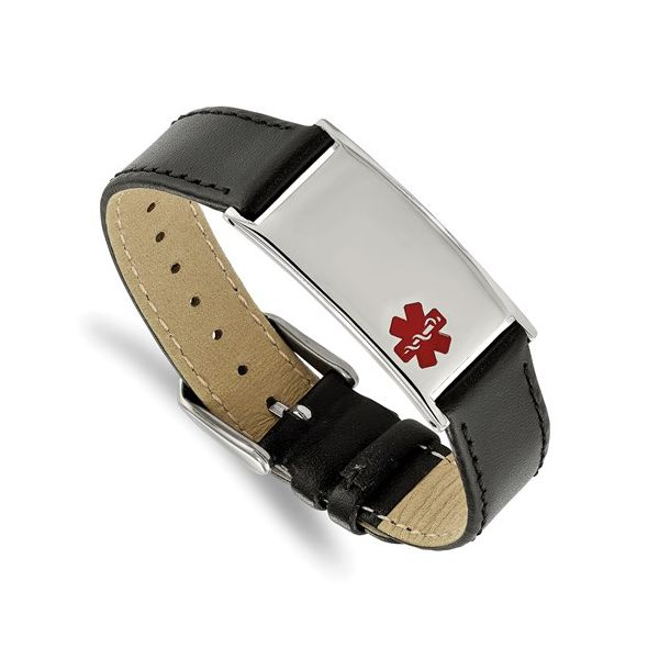 Polished Stainless Steel and Red Enamel Medical Bracelet Gerald's Jewelry Oak Harbor, WA