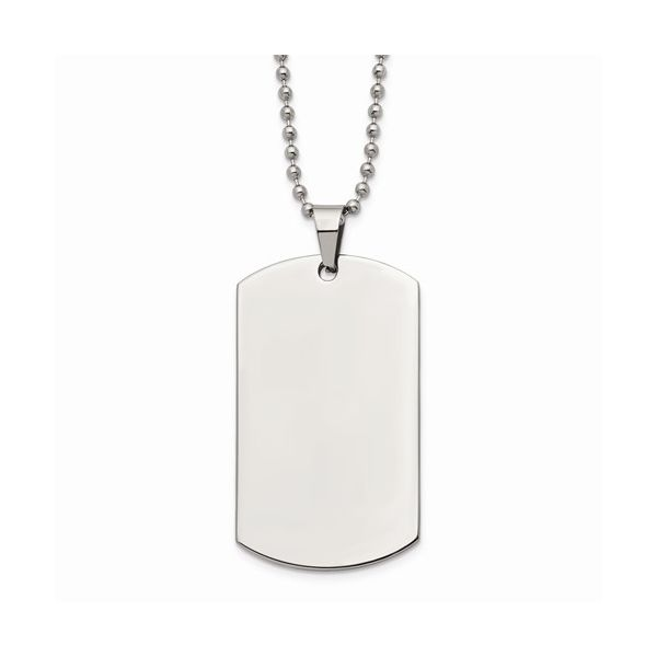 Stainless Steel Brushed and Polished Rounded Edge Dog Tag Geralds Jewelry Oak Harbor, WA