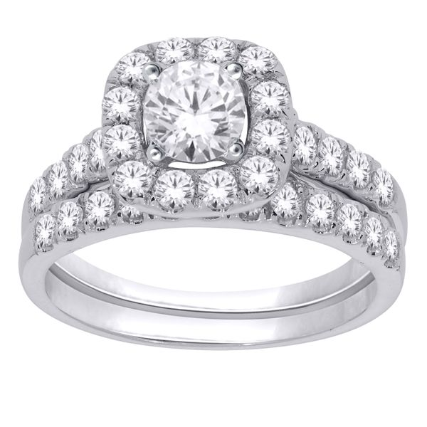 14Ct White Gold Halo Diamond Engagement And Wedding Ring Set Georgies Fine Jewellery Narooma, New South Wales