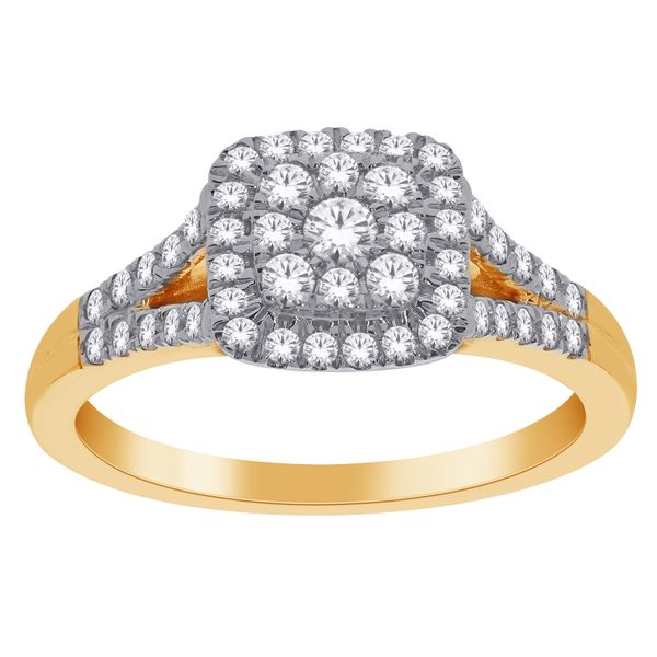 14Ct Yellow Gold Pave Set Centre Halo Diamond Engagement Ring. Georgies Fine Jewellery Narooma, New South Wales