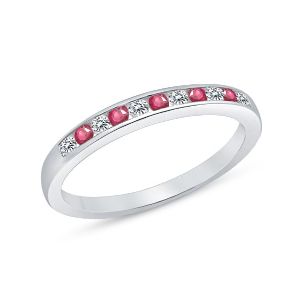 10Ct White Gold Channel Set Ruby And Diamond Ring Georgies Fine Jewellery Narooma, New South Wales