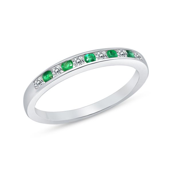 10Ct White Gold Round Emerald And Round Brilliant Cut Diamond Channel Set Wedder Georgies Fine Jewellery Narooma, New South Wales