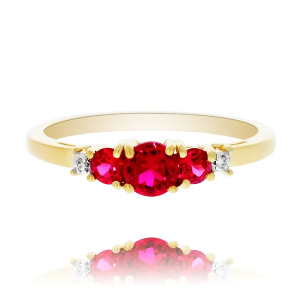 9Ct Yellow Gold V Shaped Created Ruby And Diamond Ring Georgies Fine Jewellery Narooma, New South Wales