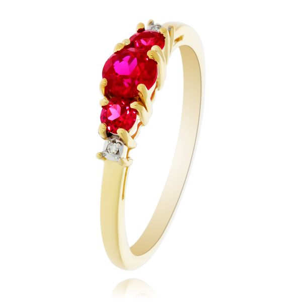 9Ct Yellow Gold V Shaped Created Ruby And Diamond Ring Image 2 Georgies Fine Jewellery Narooma, New South Wales